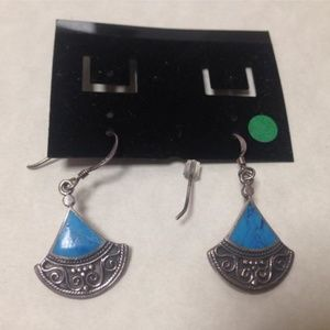 Jewelry - Sterling Silver & Turquoise Piered Earrings